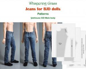 Digital PDF Pattern: Jeans for Iplehouse SID male BJD doll - Muscle type