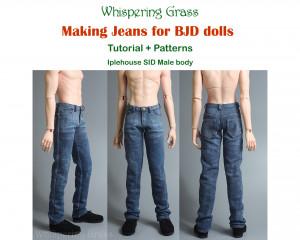 Digital PDF Tutorial + Pattern: Making Jeans for Iplehouse SID male BJD doll - Muscle type