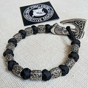 Scandinavian Black  bangle. Bracelet with steel beads. Viking jewelry.