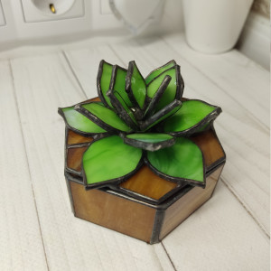 Stained glass succulent, Stained glass box, jewelry box, 3D stained glass, stained glass flower, glass succulent, Stained Glass Lotus