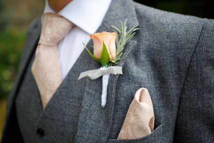 Paisley Champagne pocket square  Screenprinted men's handkerchief